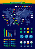 Brazil 2014 soccer championship infographic. With world map flags and icons over blue background. EPS10 vector organized in layers for easy editing Royalty Free Illustration