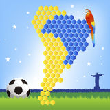 Brazil soccer concept - red macaw and map. Of Latin America, accentuating Brazil area Vector Illustration