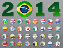 Brazil Soccer flag 2014. Selection of the flags of the nations of the world Royalty Free Stock Photos