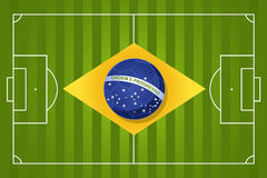2014 Brazil soccer flag. Brazil 2014 year football court soccer ball flag shape, world tournament concept illustration. Vector file layered for easy manipulation Royalty Free Stock Photography