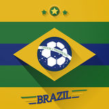 Brazil soccer flags sign. With long shadow Royalty Free Stock Images