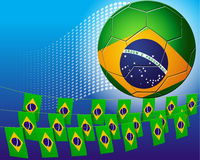 Brazil soccer football decorated with flags of Bra Royalty Free Stock Images
