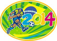 Brazil 2014 Soccer Football Player Kicking Ball. Illustration of a Brazil football player kicking soccer ball with Brazilian flag in background with numbers 2014 Stock Image