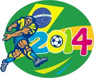 Brazil 2014 Soccer Football Player Retro. Illustration of a Brazil football player kicking soccer ball with Brazilian flag in background with numbers 2014 done Royalty Free Stock Images