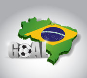 Brazil soccer and goal 3d text sign. football Royalty Free Stock Photo
