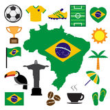 Brazil and soccer icon set Stock Images