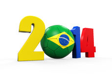 Brazil Soccer 2014. Isolated on white background. 3D render Stock Images