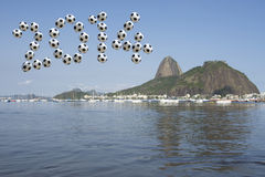Brazil 2014 Soccer Message Sugarloaf Rio de Janeiro Royalty Free Stock Photography