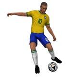 Brazil - Soccer Player. Brazilian soccer player 3D with ball Stock Photo