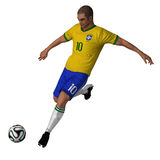 Brazil - Soccer Player. Brazilian soccer player 3D with ball Royalty Free Stock Image