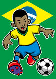 Brazil soccer player with flag background Royalty Free Stock Image