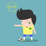 Brazil soccer player. goal concept. Vector illustration Royalty Free Stock Image