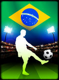 Brazil Soccer Player in Stadium Match Stock Photo