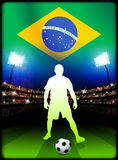 Brazil Soccer Player in Stadium Match Royalty Free Stock Photography