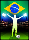 Brazil Soccer Player in Stadium Match Stock Image