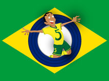 Brazil Soccer Player with Uniform Stock Photo