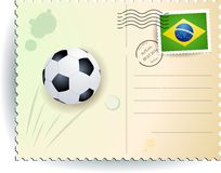 Brazil soccer postcard Royalty Free Stock Photography