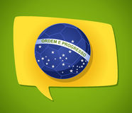 Brazil soccer speech bubble flag. 2014 brazil social media speech bubble soccer ball flag shape, world tournament concept illustration. Vector file layered for Royalty Free Stock Photos