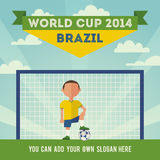 Brazil soccer world cup 2014. With the character of a soccer player. Flat design Royalty Free Stock Photos