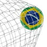 Brazil soccerball in net Stock Photo
