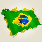 Brazil splatter flag. Grunge brazil flag splattered illustration and painting Stock Photos