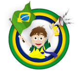 Brazil Sport Fan with Flag and Horn Stock Photography
