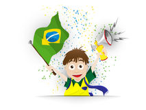 Brazil Sport Fan with Flag and Horn Stock Photos