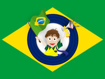 Brazil Sport Fan with Flag and Horn Royalty Free Stock Image