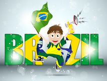 Brazil Sport Fan with Flag and Horn Stock Image