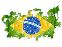 Brazil Sport Fan with Flag and Horn Royalty Free Stock Photos