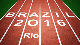 Brazil sport 2016. 2016 brazil text on running track Stock Images