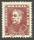 Duque de Caxias. Brazil - stamp printed in 1954, Issue Military Officers, Series Famous People Brazil History Great-Granddaughter, Duque de Caxias Royalty Free Stock Images