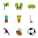 Brazil statue icons set, cartoon style. Brazil statue icons set. Cartoon illustration of 9 brazil statue vector icons for web Royalty Free Stock Photo