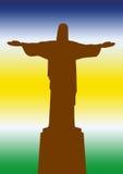 Brazil Statue of Jesus. Statue of Jesus Christ in Brazil Rio de Janeiro against the sky like the color of Flag States stock illustration