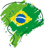 Brazil in strong colors. Painted with vibrant colors drawing the Brazilian territory Royalty Free Stock Images