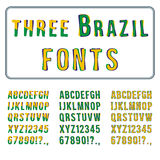 Brazil Style Font Set. Hand Drawn Alphabet with Digits. Vector Royalty Free Stock Images