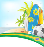 Brazil summer background with surfboard Stock Photo