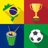 Brazil. Sun. Drum. Cup. Soccer. Summer time. Cartoon set icons. Royalty Free Stock Photo