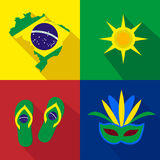 Brazil. Sun. Slippers. Mask. Summer time. Cartoon set of icons. Stock Image