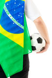 Brazil supporter with soccer ball Royalty Free Stock Image