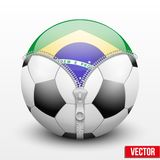 Brazil symbol inside soccer ball Royalty Free Stock Images