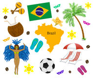 Brazil symbol, map and flag over white Stock Photo