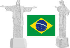 Brazil symbols, corcovado and flag Royalty Free Stock Photo