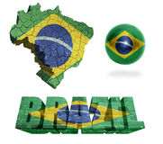 Brazil Symbols. Brazil flag and map in different styles in different textures Stock Photography