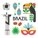 Brazil Symbols. Vector illustration with Brazil symbols - toucan, tropical flowers, nasque for carnaval, football ball. Flat style vector design elements vector illustration