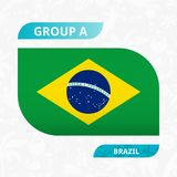 Brazil team flag, made in football competition style. Vector illustration royalty free illustration