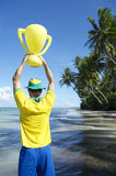 Brazil Team Football Player Trophy on Nordeste Beach Royalty Free Stock Image