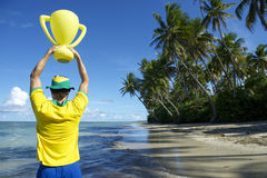 Brazil Team Football Player Trophy on Nordeste Beach Royalty Free Stock Photography