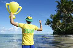 Brazil Team Football Player Trophy on Nordeste Beach Royalty Free Stock Photos