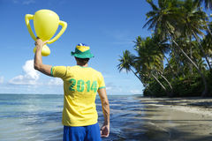 Brazil Team Football Player Trophy on Nordeste Beach Stock Photography